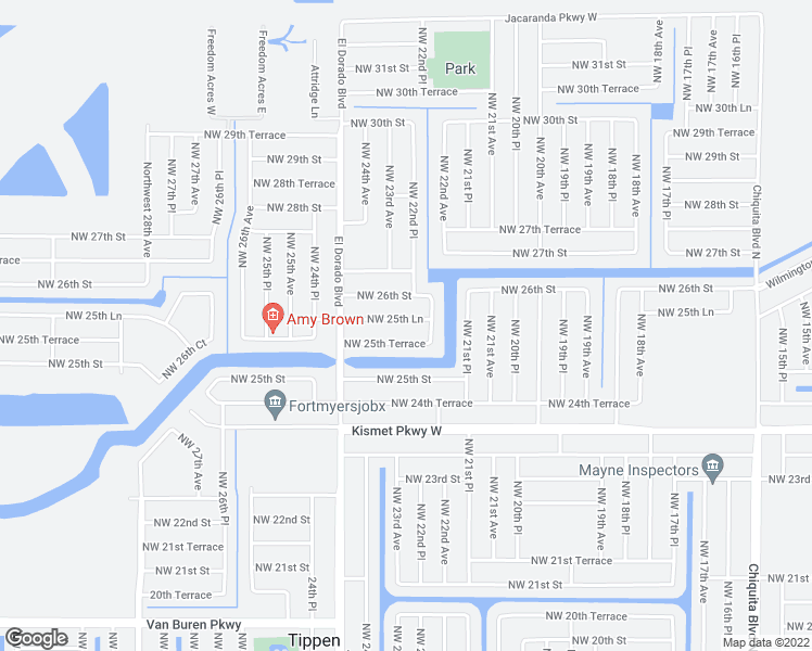map of restaurants, bars, coffee shops, grocery stores, and more near 2218 Northwest 25th Lane in Cape Coral