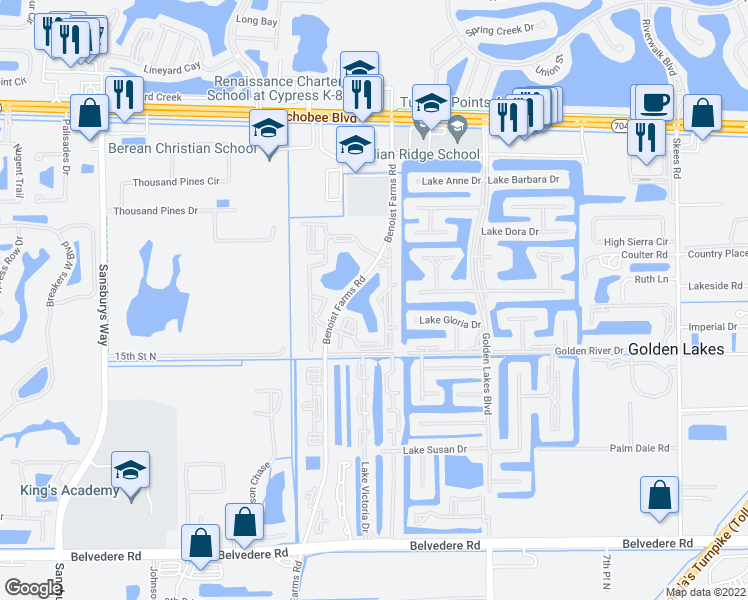 map of restaurants, bars, coffee shops, grocery stores, and more near 1482 Lake Crystal Drive in Royal Palm Beach