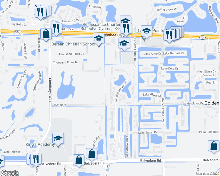 map of restaurants, bars, coffee shops, grocery stores, and more near 1521 Windorah Way in Royal Palm Beach