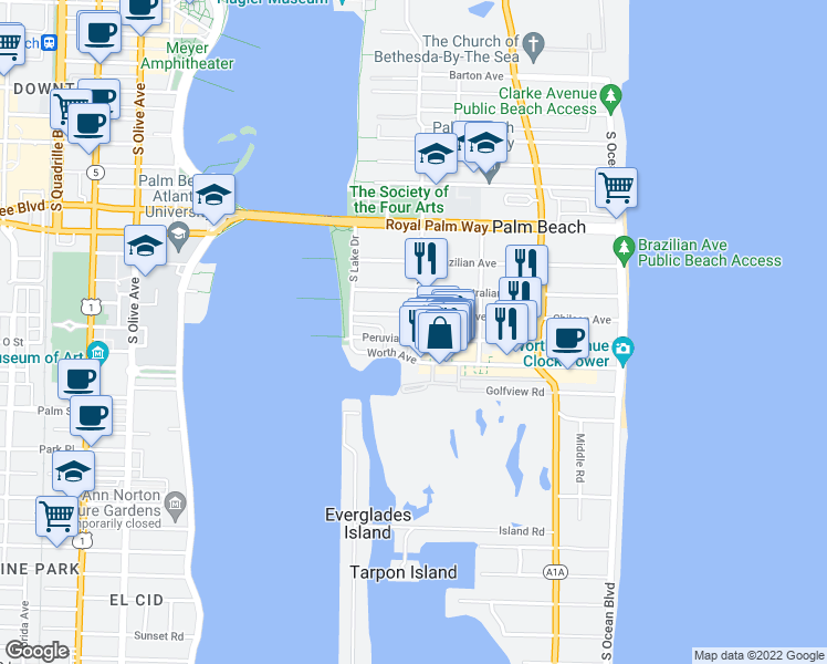 map of restaurants, bars, coffee shops, grocery stores, and more near 401 Peruvian Avenue in Palm Beach