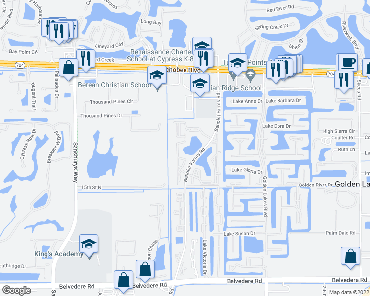 map of restaurants, bars, coffee shops, grocery stores, and more near 1620 Windorah Way in Royal Palm Beach