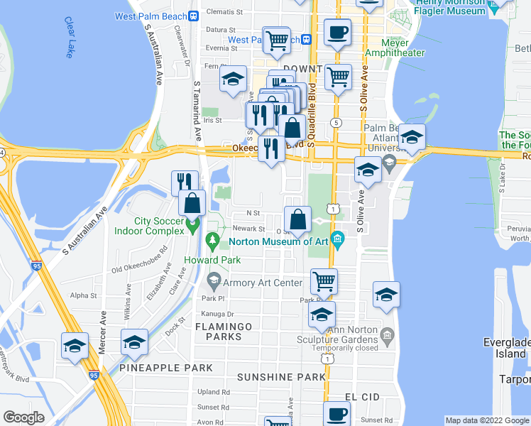map of restaurants, bars, coffee shops, grocery stores, and more near N Street in West Palm Beach