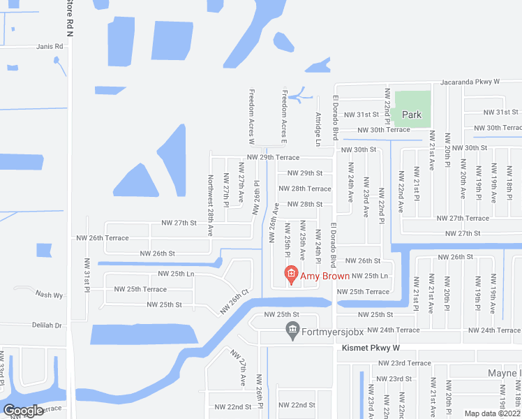 map of restaurants, bars, coffee shops, grocery stores, and more near 2713 Northwest 26th Place in Cape Coral