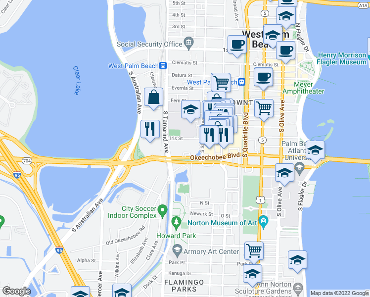 map of restaurants, bars, coffee shops, grocery stores, and more near 701 Okeechobee Boulevard in West Palm Beach