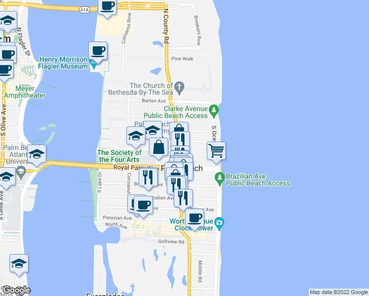 map of restaurants, bars, coffee shops, grocery stores, and more near 235 South County Road in Palm Beach