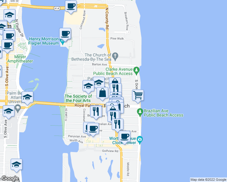 map of restaurants, bars, coffee shops, grocery stores, and more near 206 Seaspray Avenue in Palm Beach
