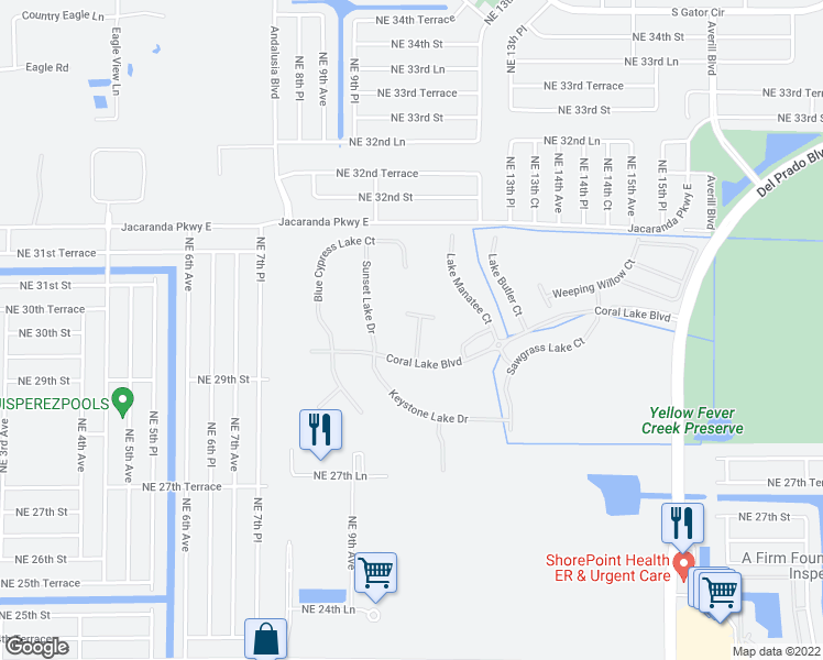 map of restaurants, bars, coffee shops, grocery stores, and more near 2670 Amber Lake Drive in Cape Coral