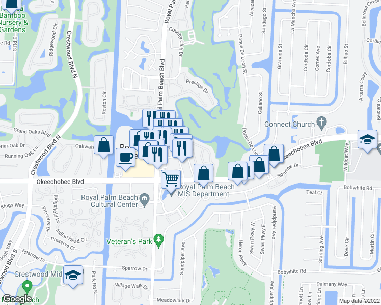 map of restaurants, bars, coffee shops, grocery stores, and more near 1708 Lakeview Drive West in Royal Palm Beach
