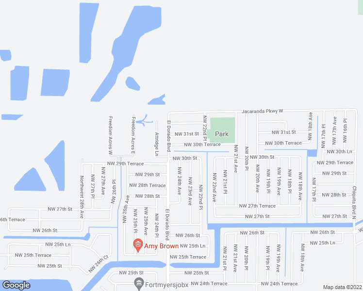 map of restaurants, bars, coffee shops, grocery stores, and more near 2314 Northwest 30th Terrace in Cape Coral