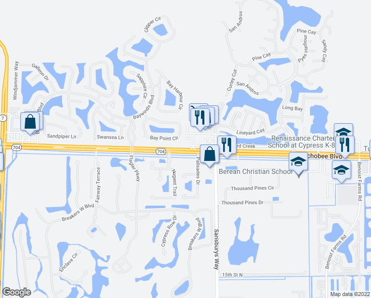 map of restaurants, bars, coffee shops, grocery stores, and more near 8993 Okeechobee Boulevard in West Palm Beach