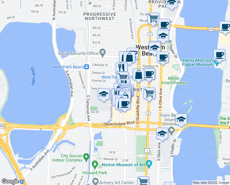 map of restaurants, bars, coffee shops, grocery stores, and more near 660 Fern Street in West Palm Beach