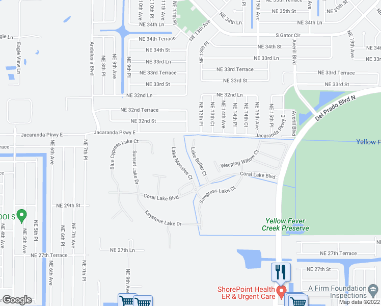 map of restaurants, bars, coffee shops, grocery stores, and more near 3026 Lake Butler Court in Cape Coral