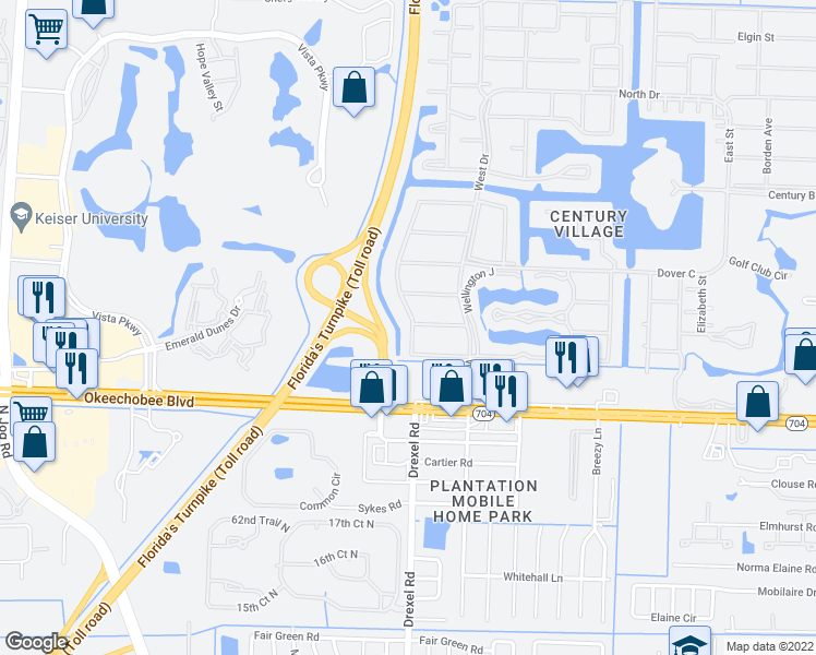map of restaurants, bars, coffee shops, grocery stores, and more near 35 Windsor B in West Palm Beach