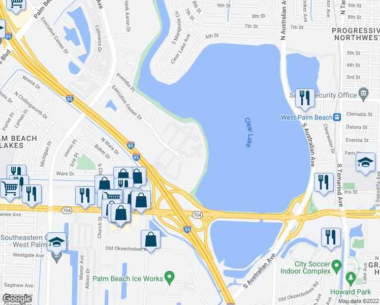 map of restaurants, bars, coffee shops, grocery stores, and more near 710 Executive Center Drive in West Palm Beach
