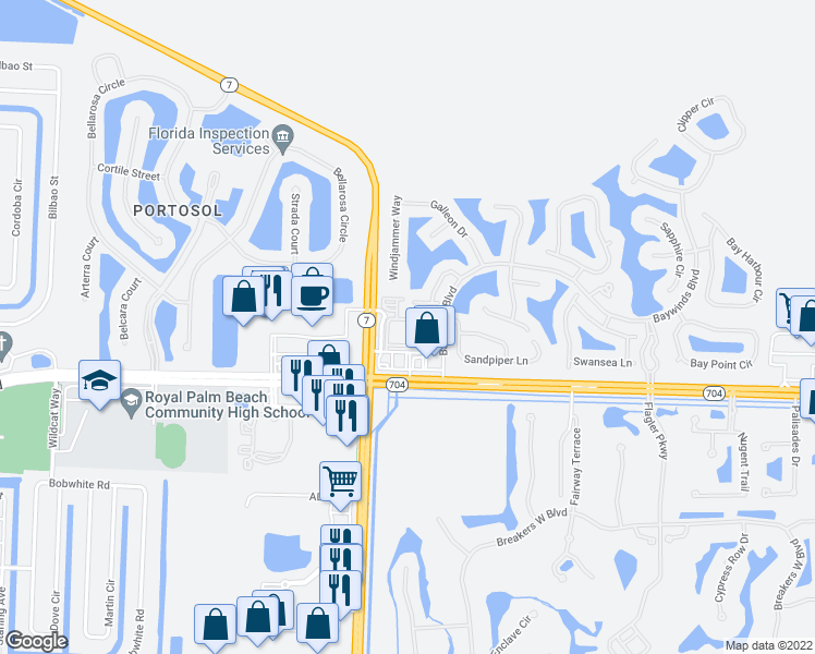 map of restaurants, bars, coffee shops, grocery stores, and more near Alta Terrace in West Palm Beach