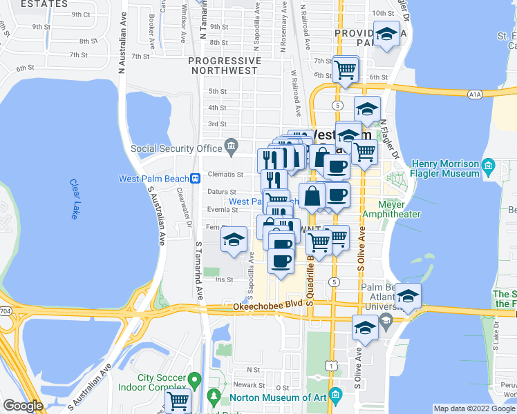 map of restaurants, bars, coffee shops, grocery stores, and more near 631 Evernia Street in West Palm Beach