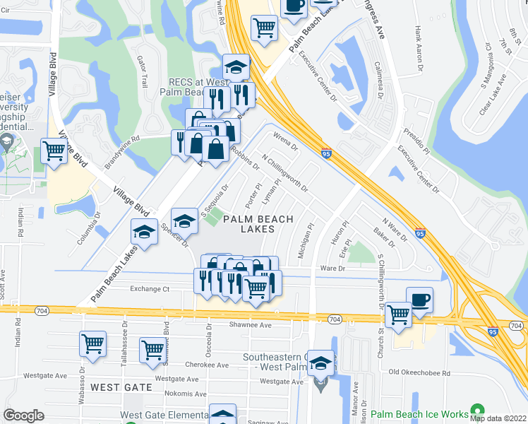 map of restaurants, bars, coffee shops, grocery stores, and more near 218 Lyman Place in West Palm Beach