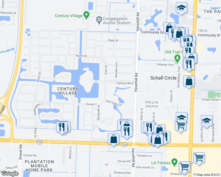map of restaurants, bars, coffee shops, grocery stores, and more near 4 Golfs Edge in West Palm Beach