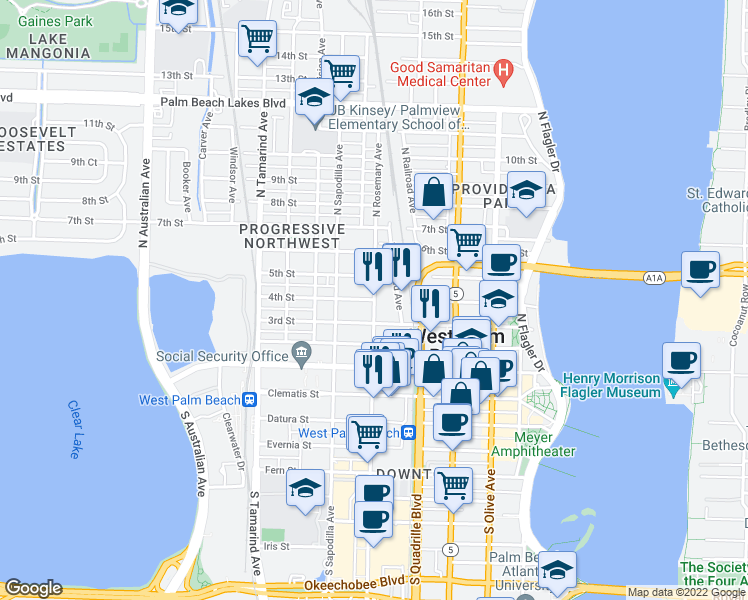 map of restaurants, bars, coffee shops, grocery stores, and more near N Rosemary Ave & 4th St in West Palm Beach
