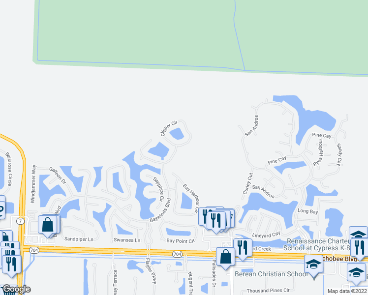 map of restaurants, bars, coffee shops, grocery stores, and more near 2574 Clipper Circle in West Palm Beach