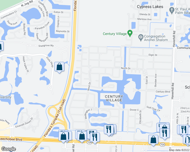 map of restaurants, bars, coffee shops, grocery stores, and more near 142 Kent L in West Palm Beach