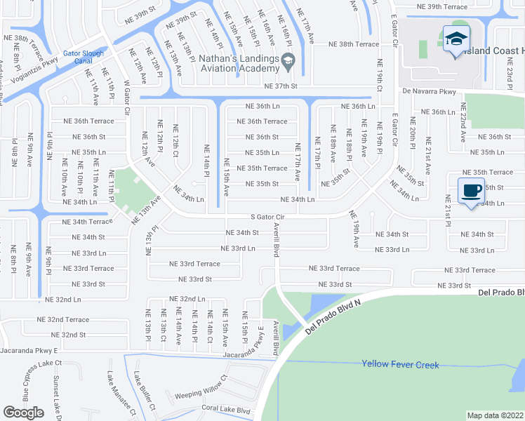 map of restaurants, bars, coffee shops, grocery stores, and more near 1533 South Gator Circle in Cape Coral