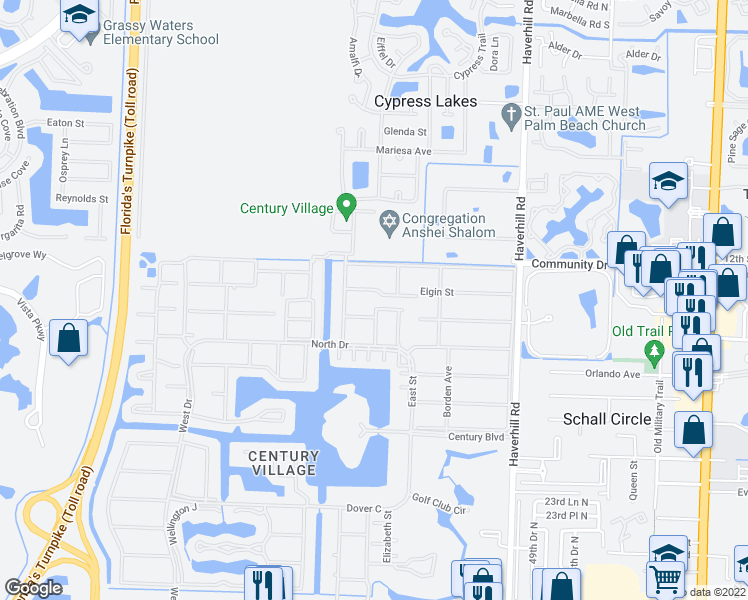 map of restaurants, bars, coffee shops, grocery stores, and more near 242 Sheffield J in West Palm Beach