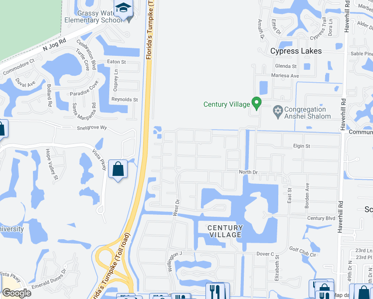 map of restaurants, bars, coffee shops, grocery stores, and more near 144 Canterbury F in West Palm Beach