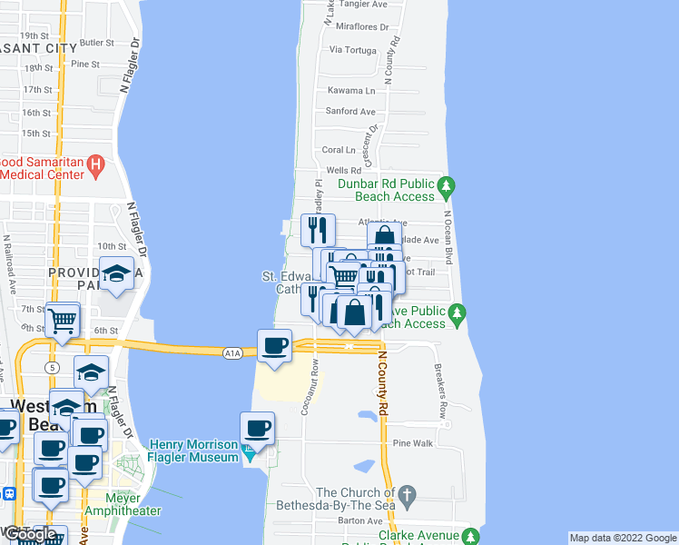 map of restaurants, bars, coffee shops, grocery stores, and more near 246 Oleander Avenue in Palm Beach