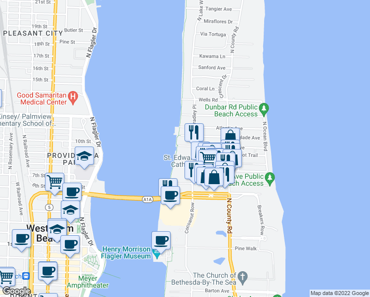 map of restaurants, bars, coffee shops, grocery stores, and more near 300 Seminole Avenue in Palm Beach