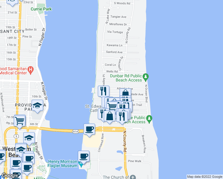 map of restaurants, bars, coffee shops, grocery stores, and more near 246 Atlantic Avenue in Palm Beach