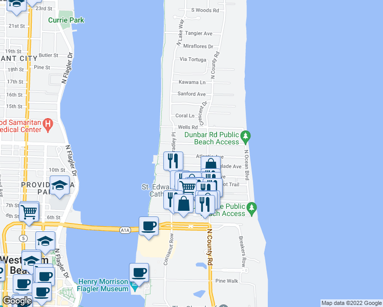 map of restaurants, bars, coffee shops, grocery stores, and more near 235 Atlantic Avenue in Palm Beach
