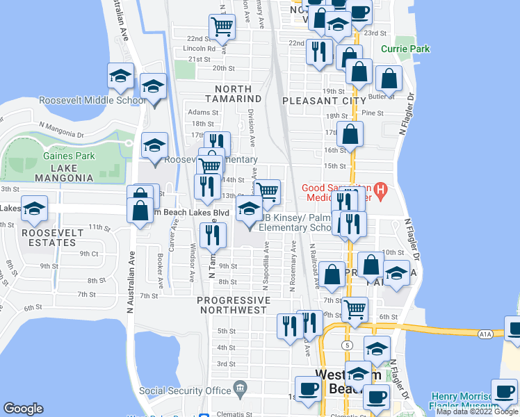 map of restaurants, bars, coffee shops, grocery stores, and more near 711 Palm Beach Lakes Boulevard in West Palm Beach