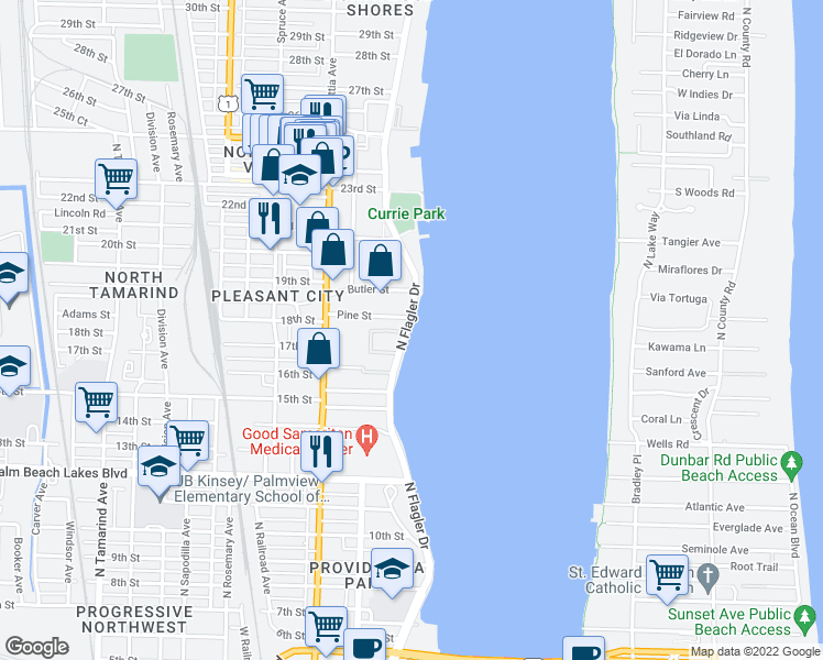 map of restaurants, bars, coffee shops, grocery stores, and more near 1805 North Flagler Drive in West Palm Beach