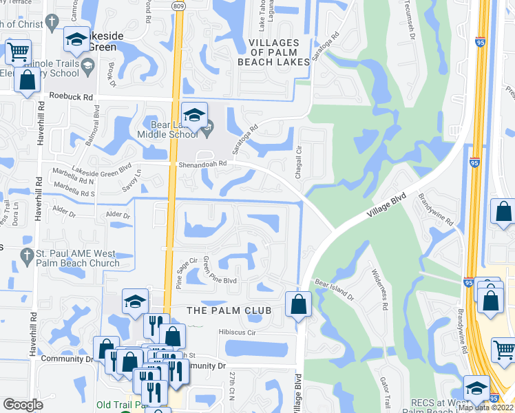 map of restaurants, bars, coffee shops, grocery stores, and more near 1103 Green Pine Boulevard in West Palm Beach