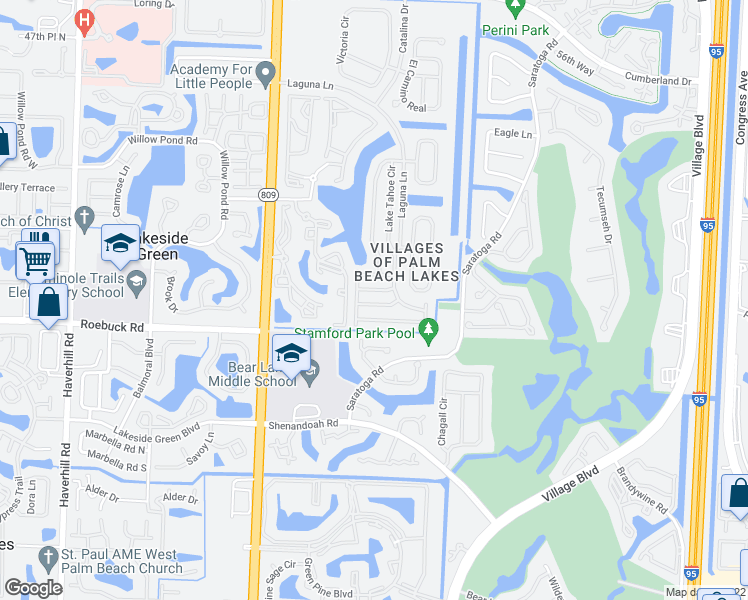 map of restaurants, bars, coffee shops, grocery stores, and more near 4157 Winnipeg Way in West Palm Beach