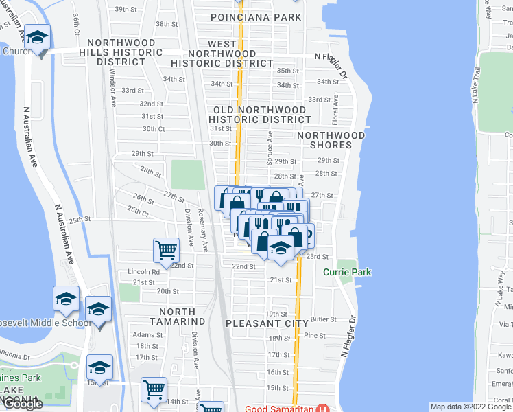 map of restaurants, bars, coffee shops, grocery stores, and more near 517 26th Street in West Palm Beach