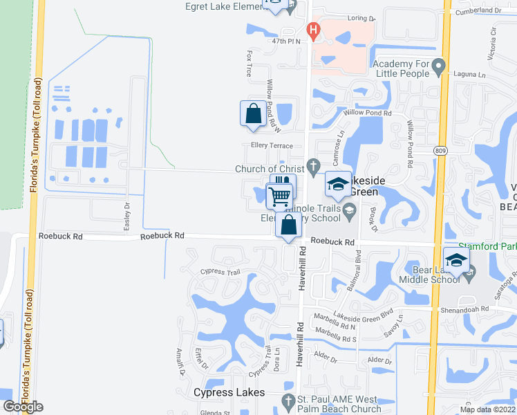 map of restaurants, bars, coffee shops, grocery stores, and more near 4163 Haverhill Road in West Palm Beach