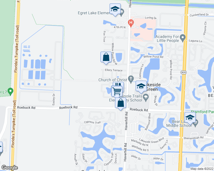 map of restaurants, bars, coffee shops, grocery stores, and more near 4179 Haverhill Road in West Palm Beach