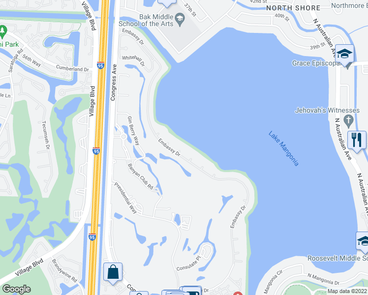 map of restaurants, bars, coffee shops, grocery stores, and more near 2436 Embassy Drive in West Palm Beach