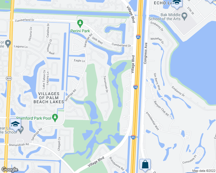 map of restaurants, bars, coffee shops, grocery stores, and more near 2600 Tecumseh Drive in West Palm Beach