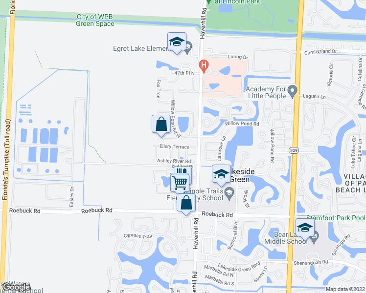 map of restaurants, bars, coffee shops, grocery stores, and more near Ellery Terrace in West Palm Beach