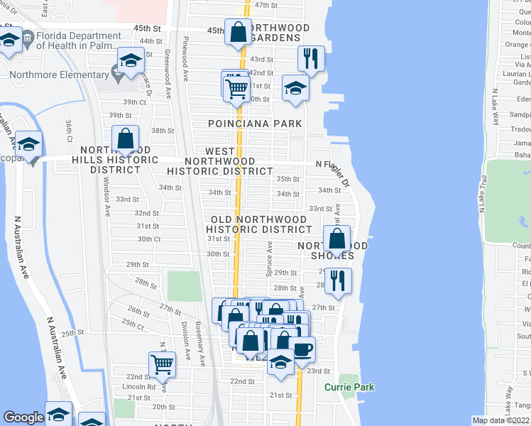 map of restaurants, bars, coffee shops, grocery stores, and more near 504 33rd Street in West Palm Beach