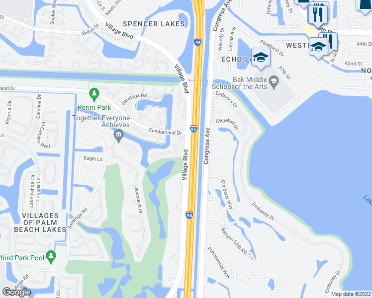 map of restaurants, bars, coffee shops, grocery stores, and more near 3101 Village Boulevard in West Palm Beach