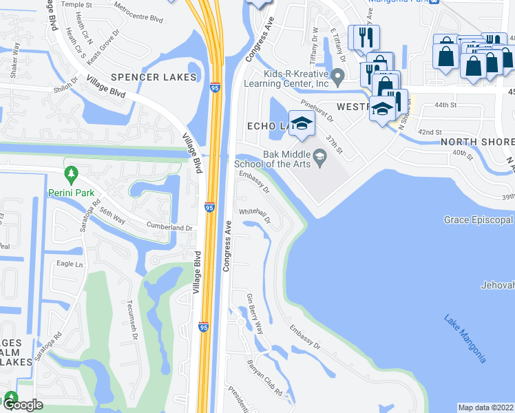 map of restaurants, bars, coffee shops, grocery stores, and more near 3630 Whitehall Drive in West Palm Beach