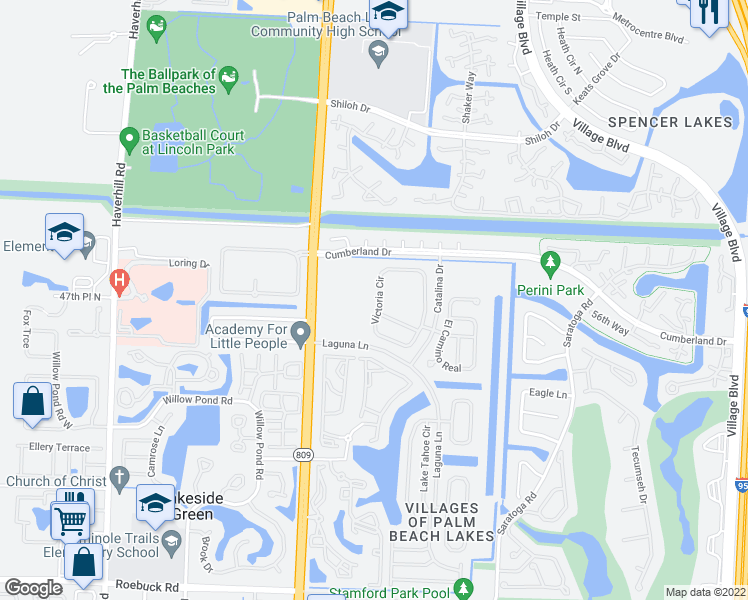 map of restaurants, bars, coffee shops, grocery stores, and more near 5122 Victoria Circle in West Palm Beach