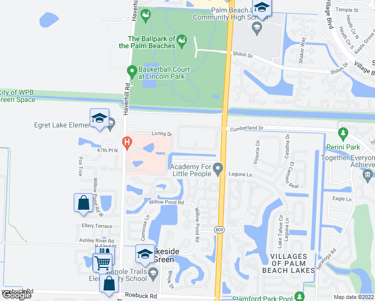 map of restaurants, bars, coffee shops, grocery stores, and more near 4961 Palmbrooke Circle in West Palm Beach