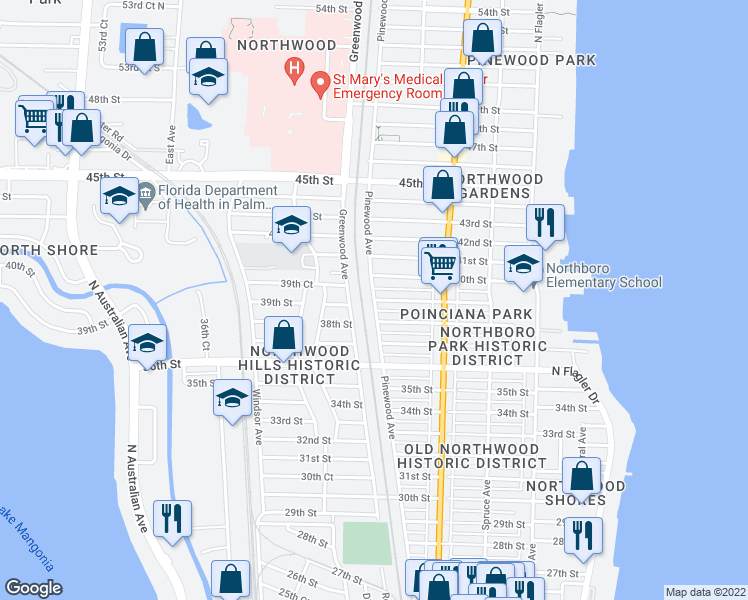 map of restaurants, bars, coffee shops, grocery stores, and more near 39th Street in West Palm Beach