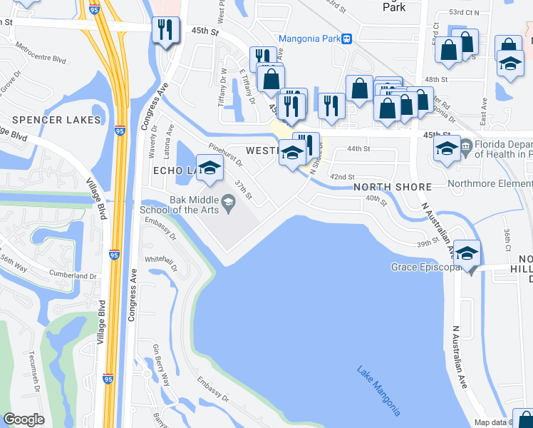 map of restaurants, bars, coffee shops, grocery stores, and more near 3815 North Shore Drive in West Palm Beach