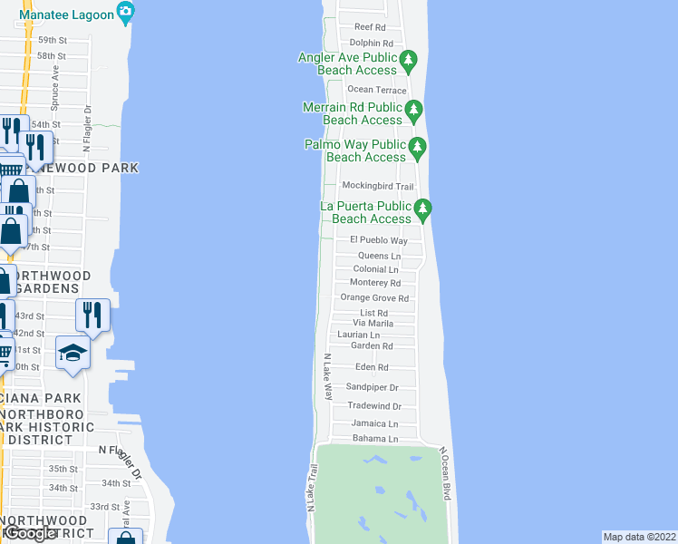 map of restaurants, bars, coffee shops, grocery stores, and more near 300 Colonial Lane in Palm Beach
